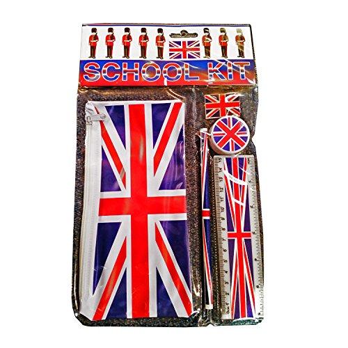 Union Jack Schulbausatz - Mäppchen / Bleistift / Lineal / Radiergummi / Bleistiftspitzer / Britische Flaggenandenken von London England Großbritannien
