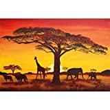 GREAT ART Mural De Pared ? Puesta De Sol África ? Foto Tapiz Imagen Mural Decoración Silueta Animal Elefante Jirafa Búfalo Sabana Estepa Pradera Paisaje Africa Sunset 210 x 140 cm