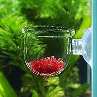 水族館の給餌カップ、水族館の水槽のための水族館の給餌器の魚の給餌器ワームの給餌容器(Glass gap cup)