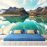 Wffmx Custom 3D Mural Wallpapers Hd Paisaje Montañas Lago Luz Montaña Color Simple Gran Mural Sala De Estar Fondo De Pantalla-200X150Cm