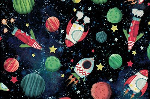 STAR Geschenkpapier 70cm x 2m Rolle Kosmos Weltraum Planeten