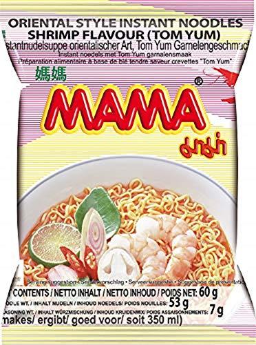 MAMA Instantnudeln Tom Yum mit Shrimpsgeschmack – Instantnudelsuppe orientalischer Art – Authentisch thailändisch kochen – 24 x 60 g