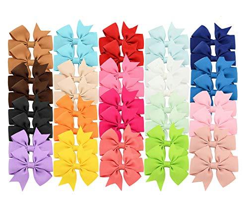 40 Unids Bebé Niñas Pinzas Para el Cabello Suave Grosgrain Ribera Arcos de Cocodrilo Pasadores para Adolescentes Niños Pequeños 20 Colores