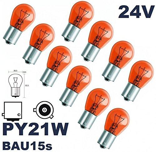 24 VOLT - 10 Stück - PY 21W - BAU15S - 21W - Gelb - 24V (versetzte Pins) Nfz LKW Beleuchtung - LONGLIFE - Glühlampe, Glassockellampe, Glühbirne, Soffitte, Lampen