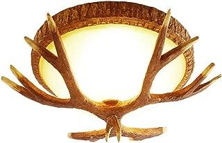 HviLit 3-Lights Vintage Resin LED Ceiling Light Fitting Creative Deer Antlers Retro Ceiling Lighting Round Restaurant Lamp for Bar Coffee Shop Corridor Aisle Decoration Illumination E27