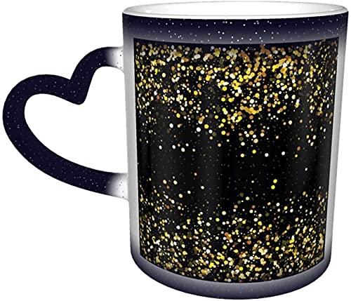 Taza con cambio de color sensible al calor mágico del cielo estrellado con purpurina dorada en el cielo de café, de arte divertido, regalo personalizado para los amantes de la familia amigos-azul