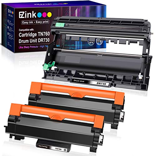 E-Z Ink (TM) Compatible Toner Cartridge and Drum Unit Replacement for Brother TN760 TN-760 TN730 TN-730 DR730 (2 Toner Cartridge, 1 Drum Unit, Black)
