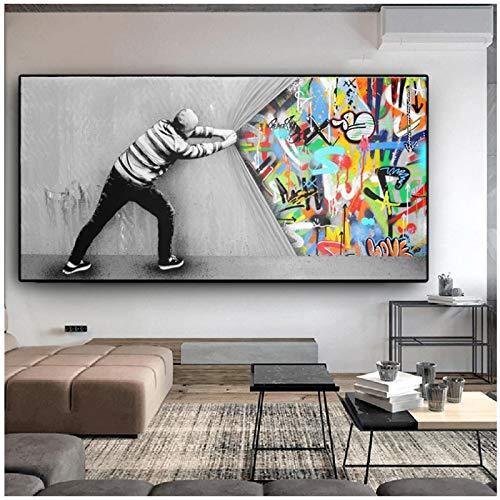 ZXYFBH Tableau Decoration Murale Derrière Le Rideau Graffiti Art Peinture sur Toile Affiches et Impressions Street Wall Art Photo pour Salon Cuadros Home Decor 19.7x39.4in (50x100cm) x1pcs sans Cadre