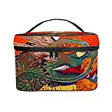 Bolso cosmético portátil del Viaje de Las señoras,Bolso del Maquillaje,Geisha Japonesa con dragón 40x50,Bolsa de Aseo multifunción Que recibe