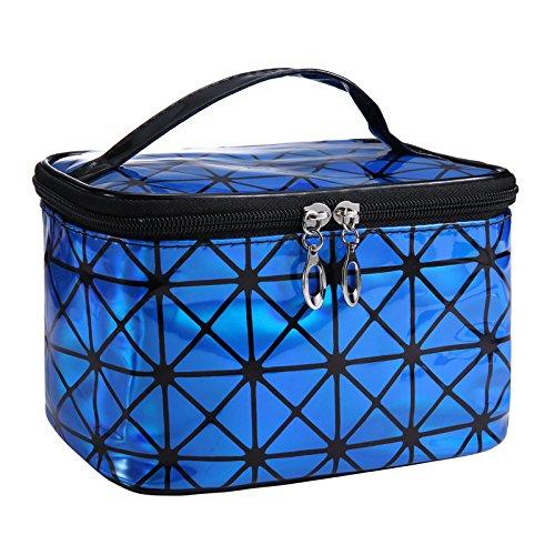SANJIBAO Sac Cosmétique De Grande Capacité Carré Sac Cosmétique Portable Sac De Rangement De Voyage Sac De Lavage Étanche,Bleu