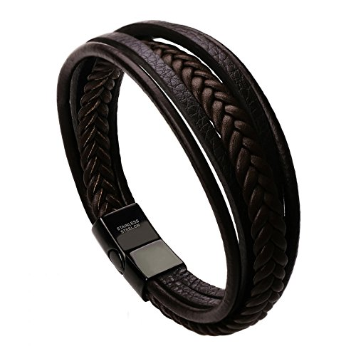 Murtoo Mens Leather Bracelet with Magnetic Clasp Cowhide Multi-Layer Braided Leather Mens Bracelet