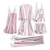 Pijamas Mujer Camisón 5 Piezas De Ropa De Dormir Sexy para Mujer, Camisola De Encaje Satinado, Pantalones Cortos, Camisón, Bata, Pijama, Lencería, Vestido De Seda, Chemise De Nuit Femme XXL Rosa