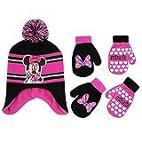 Disney Girls Minnie Mouse and Vampirina Winter Hat and 2 Pair Mitten or Glove Set (Toddler/Little Girl) (Hot Pink Minnie Mittens 2-4, Age 2-4)