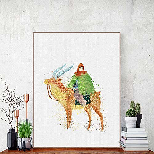 Geiqianjiumai Aquarelschilder Pop geanimeerde prinses schilderij hert canvas poster muurschildering kinderkamer decoratie schilderij frameloos schilderij