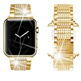 Dassions Band for Apple Watch Diamond Band, Rhinestone Luxury Diamond Stainless Steel Replacement Bands for Apple Watch 42mm 44mm Series 5 Series 4 Series 3 Series 2 Series 1 Edition (Gold, 42/44mm)