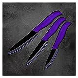 Xizdth Cuchillo Cuchillo de Cocina Juego de Cuchillos de Cocina de Peso Ligero 3'4' 5'Pulgadas de Herramientas de Cuchillo de Cocina (Color : Purple H Black Blade)