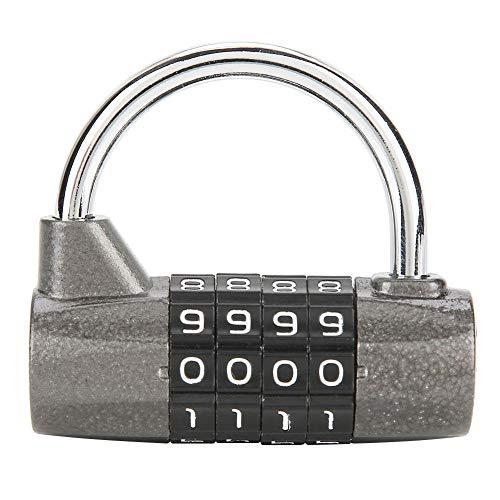 Weerwoord-hangslot, gekoeld stalen veiligheids-houdbaarheid-4-cijferig combinatieslot met sleutelloze terugzetbare combinatie voor kleedcabine in de fitnessruimte, zwart. zwart