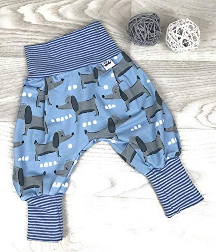 Pumphose Jersey haremshose Gr. 56-110, hose mädchen junge, grau blau Hund, Babyhose, Kinderhose