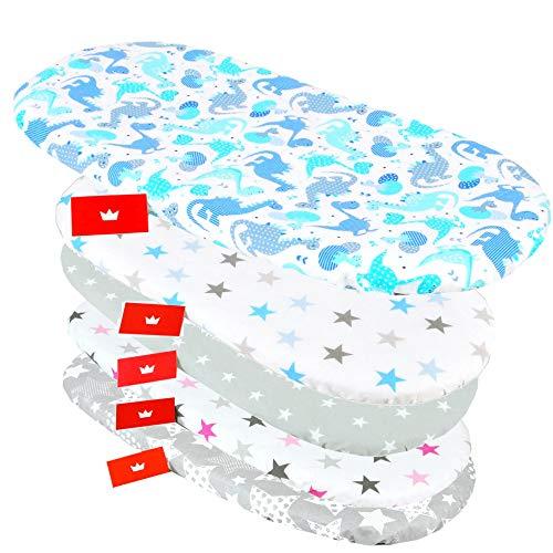 BABYLUX Spannbettlaken für Kinderwagen Stubenwagen Baby Spannbetttuch Wiege Stuben Bettlaken (100. Dino Blau)
