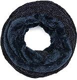 styleBREAKER Unisex Chenille Loop Schal mit Waben Muster und Fleece Futter, Winter Schlauchschal, Strick Loopschal 01018159, Farbe:Midnight-Blue/Dunkelblau