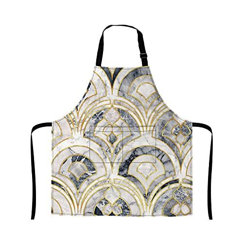 Reebos Delantal de mármol Art Deco Azulejos de cocina Delantal de cocina para hornear, jardinería, camarera, bonito delantal para barbacoa a la parrilla, delantal de chef para mujeres y hombres