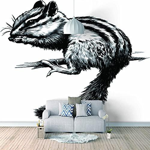 Papel Pintado 3D Foto Murales Ardilla gris,Papel Tapiz Fotográfico Premium No-Tejido Mural Apto para Sala de Estar Dormitorio Decoración de la Papel Tapiz 200x150 cm - 4 tiras