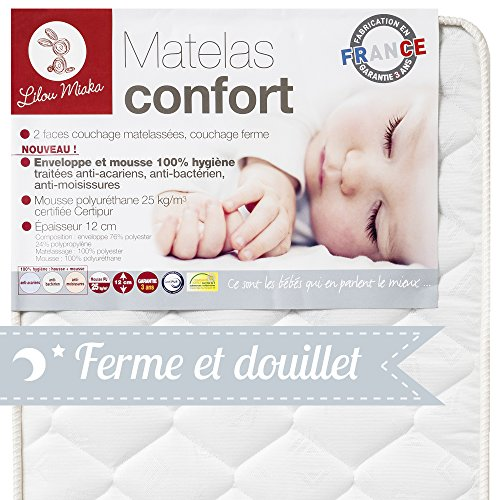 Lilou Miaka Confort Latexmatratze, 100% hygienischer Bezug und Schaumstoff, 70x140x12cm