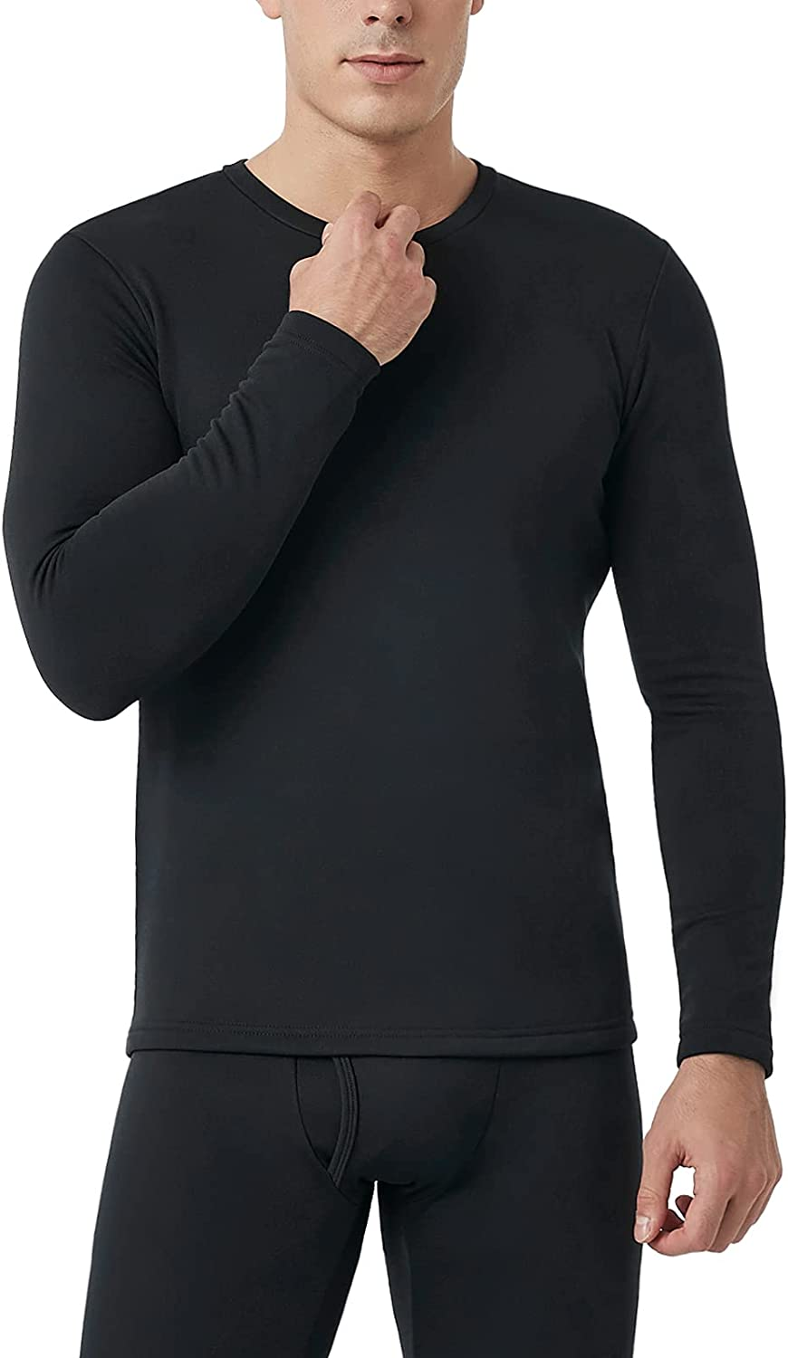 LAPASA Mens Thermal Underwear Top, Fleece Lined Long Sleeve Shirt Light/Mid/Heavy Weight 1 & 2 Packs (Thermoflux M09/M55/M26)