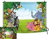 BINQOO - Fondo de safari de la selva, 7 x 5 pies, diseño de safari con animales de la selva
