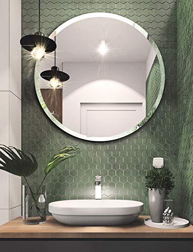 Espejo de pared redondo sin marco para baño – 31.5 pulgadas biselado pulido redondo espejo para pared de baño