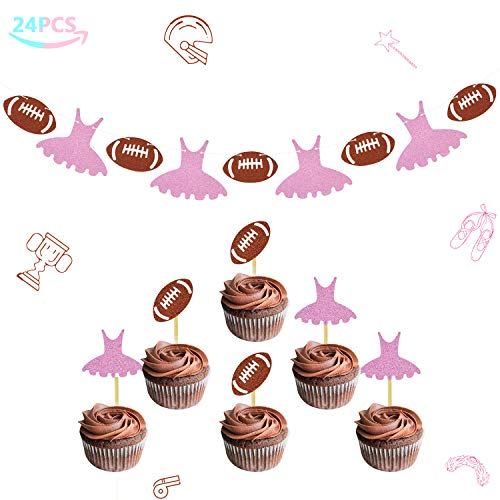 Joymee Touchdowns or Tutus Banner Gender Reveal Cupcake Toppers Glitter Baby Shower Party Supplies Decorations Kit 24 Packs