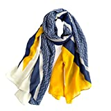 WanTu Women Scarf Fashion Shawl, Suitable For All Seasons,Yellow and Blue Color Matching, Large Size