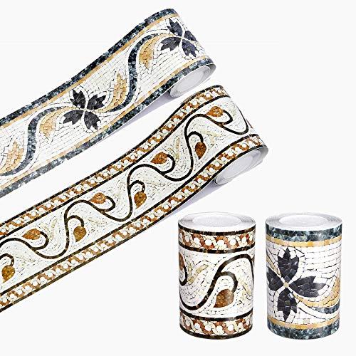 2 fronteras de papel pintado con mosaicos 3D, autoadhesivas, resistentes al agua, para el baño, sala de estar, cocina, pared de 10 cm x 5 m
