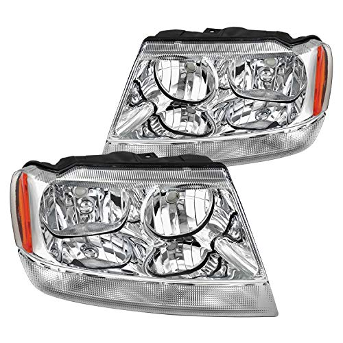 Spec-D Tuning Clear Headlights for 1999-2004 Jeep Grand Cherokee Head Light Assembly Left + Right Pair