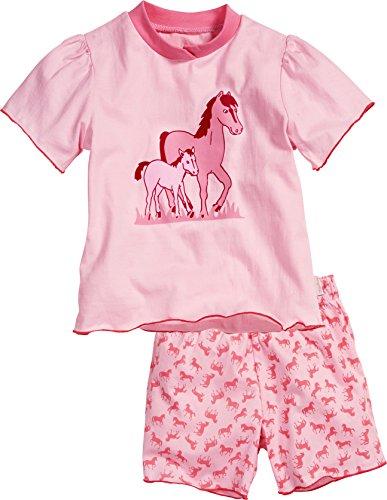 Playshoes Mädchen Zweiteiliger Schlafanzug Shorty Single-Jersey Pferde, Rosa (Original 900), (Herstellergröße: 128)
