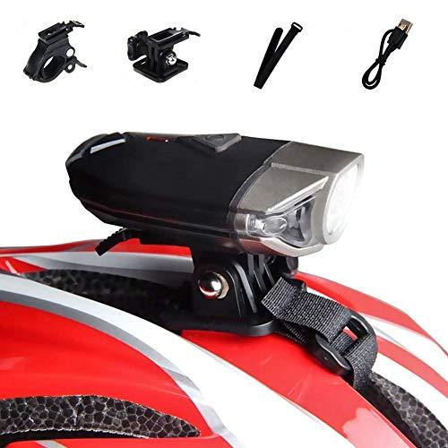 WASAGA Luce per Casco Bici, Luce per Casco per Bicicletta a LED da 300 Lumen 3 modalità USB Ricaricabile Impermeabile per Bici Faro Anteriore Perfetto per la Guida o attività all'aperto