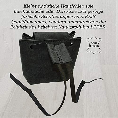 Lederbeutel Kleingeldtasche Mittelalterliche Geldbeutel aus Wildleder (schwarz) - 4