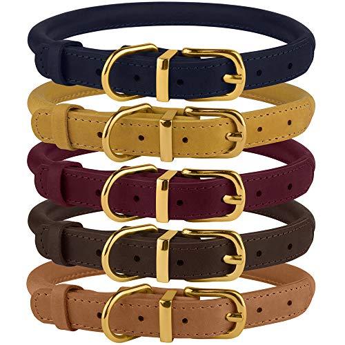 BronzeDog Rolled Leather Dog Collar Durable Round...