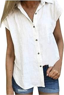 Hosamtel Women Shirt Short Sleeve Button Down Pocket Solid Summer Fashion Casual Elegant Cotton Linen T-Shirt Tops Blouse