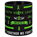 Sainstone Green Awareness Ribbon Silicone Bracelets with Saying - Mental Health Awareness Bracelet - Green Cancer & Cause Ribbon Wristbands Gifts for Men Women, Patients, Family Friends (3-Pack)