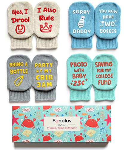 Funplus/Fun+ Christmas Baby Socks Gift Baby Shower and Newborn Present Cute and Funny Quote 4 Pair Set Anti-Skid 3-12 Months
