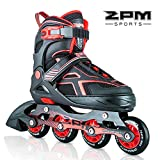 2pm Sports Torinx Red Black Boys Adjustable Inline Skates, Fun Skates for Kids