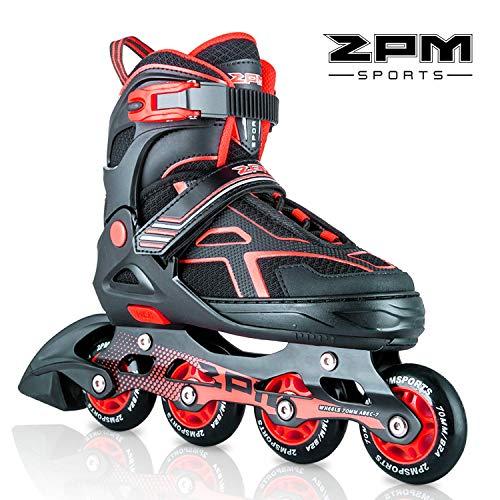 2 pm Sports Torinx - Patines en línea ajustables para niños, patines para principiantes, para niñas, hombres y mujeres, rojo, Large - Big Kids(4-7UK)