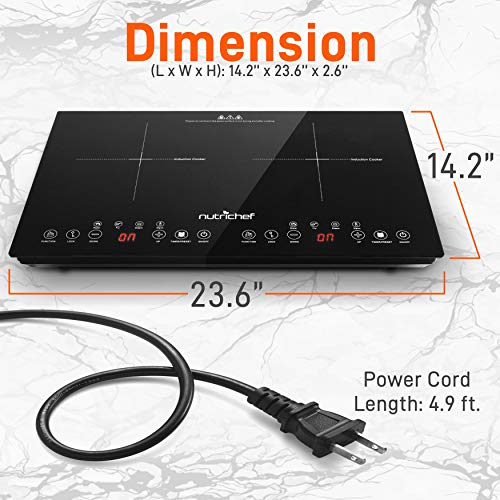 Product Image 2: NutriChef Double Induction Cooktop 120V Portable Digital Ceramic Dual Burner w/Kids Safety Lock-Works with Flat Cast Iron Pan,1800 Watt,Touch Sensor, 12 Controls PKSTIND48