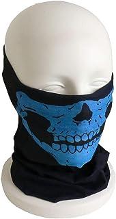 UnderBattle 薄手 ドクロ 骸骨 スカル フェイスマスク (黒×青) フェイスガード サバゲー コスプレ ハロウィン