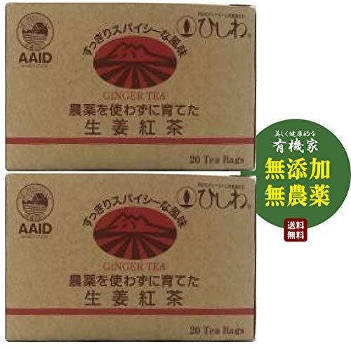 無添加 無農薬 生姜紅茶 40g(20袋ティーバッグ入り)★送料無料コンパクト★☆農薬を使わずに栽培した、フレッシュな香りの渋みを抑えたケニア紅茶に、日本国内で丁寧に栽培したピリッとスパイシーな有機生姜をブレンドしました。ストレートでおいしく、ミルク・砂糖