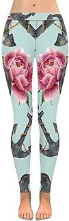 INTERESTPRINT Women's Fashion Print Yoga Pants Anchor Steering Wheel Soft Slim Low Rise Leggings