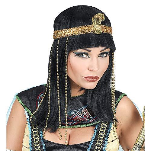 Widmann 02089 – Perücke ägyptische Königin, schwarz, Frisur, Haare, Kunsthaar, Cleopatra Perücke, Zweithaar, Motto Party, Karneval