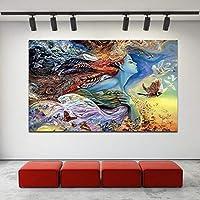 ファッションキャンバス絵画 抽象アートワーク美しい女の子と蝶鳥のプリントでキャンバスプリントポスターホームデコレーションアートの絵画を絵画 (Size (Inch) : 70x105cm)