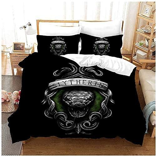 WANGHU Harry Potter Bed Linen Set, Slytherin Duvet Cover Set, 3D Print, 100% Microfibre, Easy Care Bed Linen (A01,135X200cm+50x75cmx2)